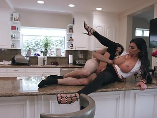 Busty raven tries morning sex with the step son on the kitchen counter