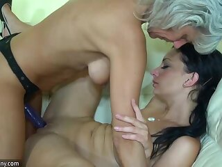OldNanny Aged skinny woman upon strapon, inviting skirt and guy