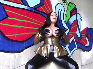 The Golden Blowjob Functionary - Dirty Alfresco Blowjob Handjob with Latex Gloves - Cum first of all my Tits