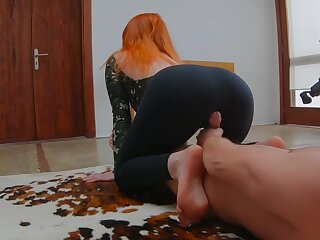 Ginger Redhead Teen Rendering Yoga in Sports Bodysuit and Gets Covered with Cum