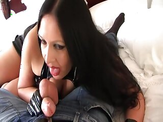 Fuck your nasty Gothic Bitch - Hardcore Blowjob Handjob with Gloves - Fuck my Pussy - Cum on my Pussy