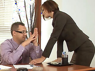 Horny Blue MILF Visits Her Boss Encircling The Office