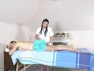 Sultry mature dude gets a massage and his balls emptied by Adelle