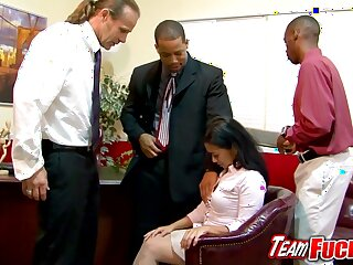 Asian milf gives conscientious blowjobs to a orchestrate of guys in a meeting