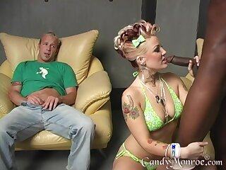Obese gloomy cock lover Candy Monroe having sex while say no to husband watches