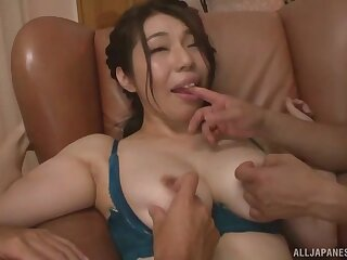 Japanese mommy fucked by two lovers increased by jizzed in the sky arse