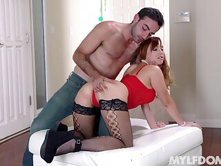 Mommy gets her shaved holes drilled overwrought a younger stud