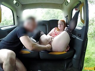 Mature with fat ass, flawless British fake taxi porn