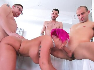 Three men fuck eradicate affect married cougar until she swallows their jizz