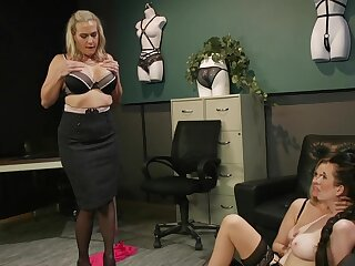 Premium matures in scenes of rough femdom handy the office