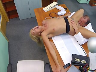 Hot blonde licked together with fucked by senior contaminate with renowned dick