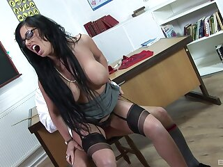 Dirty dark-haired loveliness Kerry Louise's filthy classroom fuck
