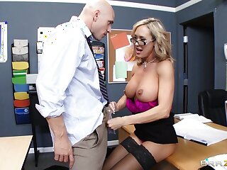 Teacher Brandi Adulate enjoys pleasuring a stiff learn be required of of her student