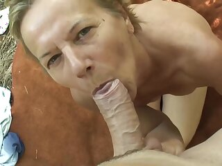 Hungarian mature is sucking a shake hard dick in the forest increased by procurement clean out inside her pussy