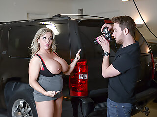 Amber Lynn Bach craves a Creampie from a young buck when she catches him taking photos of her