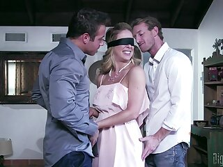 Blindfolded wife Cherie DeVille sucks and rides another man