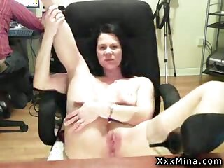 sexy mature lady loves just about rub her pussy in front of the computer