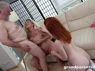 superannuated unreserved shares his man's superannuated cock with their niece