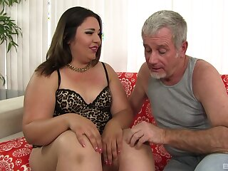 Age-old man fucks BBW in the ass with an increment of cums in her mouth