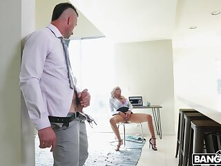 Titty fucking plus hard sexual relations with sexy blonde MILF Nina Elle